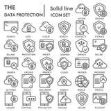 De het pictogramreeks van de gegevensbescherminglijn, de symboleninzameling van de computerveiligheid, vectorschetsen, embleemill vector illustratie