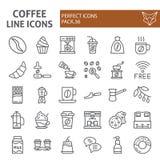 De het pictogramreeks van de koffielijn, de inzameling van koffiesymbolen, vectorschetsen, embleemillustraties, cafeïne onderteke vector illustratie