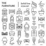 De het pictogramreeks van de meubilairlijn, binnenlandse symboleninzameling, vectorschetsen, embleemillustraties, huis onderteken vector illustratie