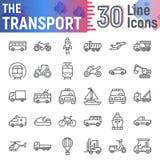 De het pictogramreeks van de vervoerlijn, de inzameling van voertuigsymbolen, vectorschetsen, embleemillustraties, auto onderteke vector illustratie