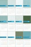 De het Pictonblauw en wilde eend kleurden geometrische patronenkalender 2016 Stock Foto's
