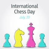 De het schaakcijfers van de lijnkunst voor de Internationale Schaakdag voor begroeten royalty-vrije stock fotografie