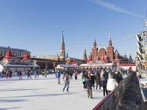 De het schaatsen piste op Rood vierkant Royalty-vrije Stock Afbeelding