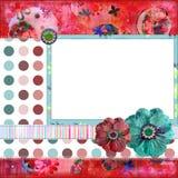 De het sjofele BloemenFrame van de Foto of Achtergrond van het Plakboek Royalty-vrije Stock Fotografie