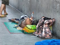 De het slachtoffermens van de vloed wordt dakloos Royalty-vrije Stock Foto