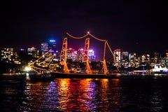 De het varende schip en horizon van Sydney NYE 2015 stock foto's
