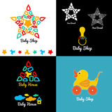 De het vastgestelde embleem en emblemen van de babywinkel Royalty-vrije Stock Afbeelding