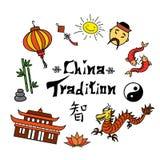 De het vastgestelde symbool en Hiëroglief van China stock illustratie