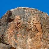 De ?het Vechten Katten die? - Wadi Mathendous graveren Royalty-vrije Stock Foto's