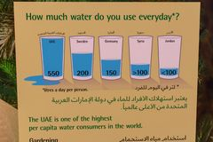 De het watergebruik of Consumptie ondertekent in de V.A.E in het Engels en Arabisch voor Onderwijs stock foto's