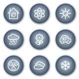 De het Webpictogrammen van de ecologie plaatsen 2, minerale cirkelknopen Stock Afbeelding
