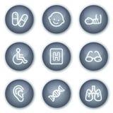 De het Webpictogrammen van de geneeskunde plaatsen 2, minerale cirkelknopen Royalty-vrije Stock Foto
