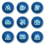 De het Webpictogrammen van de reis plaatsen 1, blauwe cirkelknopen Royalty-vrije Stock Foto's