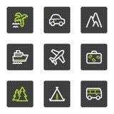 De het Webpictogrammen van de reis plaatsen 1, grijze vierkante knopenreeks Stock Foto