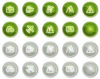 De het Webpictogrammen van de reis plaatsen 1, groene cirkelknopen Stock Afbeeldingen