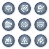 De het Webpictogrammen van de reis plaatsen 1, minerale cirkelknopen Royalty-vrije Stock Foto's
