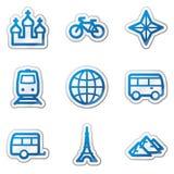 De het Webpictogrammen van de reis plaatsen 2, blauwe contoursticker Stock Foto's