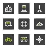 De het Webpictogrammen van de reis plaatsen 2, grijze vierkante knopenreeks Royalty-vrije Stock Foto