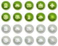De het Webpictogrammen van de reis plaatsen 2, groene cirkelknopen Royalty-vrije Stock Foto's