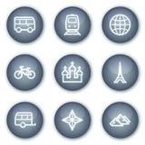 De het Webpictogrammen van de reis plaatsen 2, minerale cirkelknopen Stock Afbeeldingen