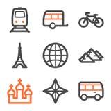 De het Webpictogrammen van de reis plaatsen 2, oranje en grijze contour Royalty-vrije Stock Afbeeldingen