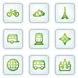 De het Webpictogrammen van de reis plaatsen 2, witte vierkante knopen Royalty-vrije Stock Foto