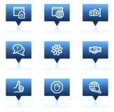 De het Webpictogrammen van Internet, blauwe toespraak borrelt reeks Stock Afbeeldingen