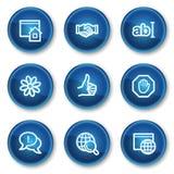 De het Webpictogrammen van Internet plaatsen 1, blauwe cirkelknopen Royalty-vrije Stock Foto