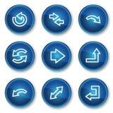 De het Webpictogrammen van pijlen plaatsen 1, blauwe cirkelknopen Royalty-vrije Stock Afbeelding