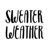 De het weer` hand-tekening van de inschrijvings` Sweater van zwarte inkt op een witte achtergrond Stock Fotografie