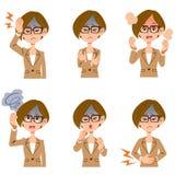 De het werkvrouwen die kostuum en glazensymptomen 6 dragen typt van vector illustratie