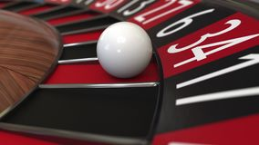 De het wielbal van de casinoroulette raakt het rode, 3D teruggeven 34 vierendertig Royalty-vrije Stock Afbeelding