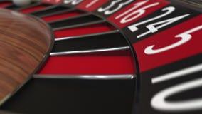 De het wielbal van de casinoroulette raakt zwarte 31 éénendertig stock footage