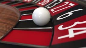 De het wielbal van de casinoroulette raakt het zwarte, 3D teruggeven 6 zes Royalty-vrije Stock Afbeeldingen
