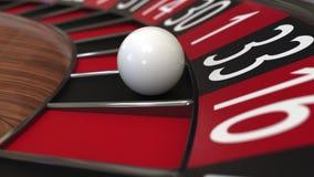 De het wielbal van de casinoroulette raakt zwarte 33 drieëndertig het 3d teruggeven Stock Afbeelding