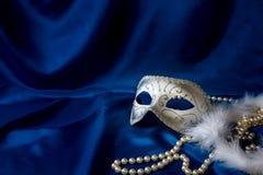 De het zilveren masker en parel van Carnaval Royalty-vrije Stock Afbeelding