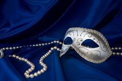 De het zilveren masker en parel van Carnaval Royalty-vrije Stock Foto's
