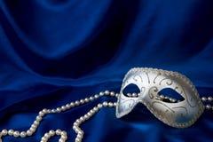 De het zilveren masker en parel van Carnaval Royalty-vrije Stock Afbeeldingen
