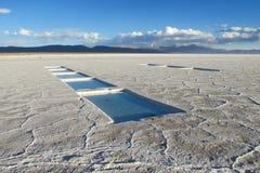 De het zoute meer en zoutmijnen van Salar Uyuni met water Royalty-vrije Stock Foto's