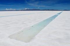 De het zoute meer en zoutmijnen van Salar Uyuni met water Royalty-vrije Stock Afbeeldingen