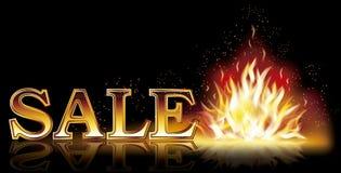 De hete banner van de verkoopvlam, vector Stock Afbeeldingen