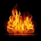 De hete banner van het verkoopaanplakbord met gloeiende teksten in vlammen affiche abstracte vectorillustratie Royalty-vrije Stock Afbeelding