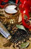 De hete die cider, met notemuskaat, kaneel en kruidnagels wordt gekruid wordt voorgesteld royalty-vrije stock afbeeldingen