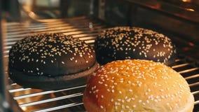 De hete hamburgerbroodjes met zaden worden gebakken in de oven in 4k resolutie in langzame motie stock footage