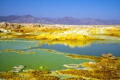 De hete lentes in Dallol, Danakil-Woestijn, Ethiopië stock foto