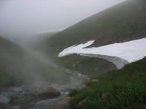 De hete lentes in Kamchatka Stock Afbeeldingen