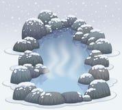 De hete lentes onsen in de sneeuwwinter Royalty-vrije Stock Afbeelding