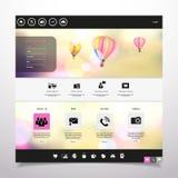 De hete luchtballon van /with van het websitemalplaatje Vector in de uitstekende bokeh hemelillustratie Stock Foto's