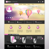 De hete luchtballon van /with van het websitemalplaatje Vector in de uitstekende bokeh hemelillustratie Stock Afbeeldingen