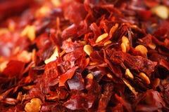 De hete Rode verpletterde peper van de Spaanse pepers van Spaanse pepers Royalty-vrije Stock Afbeelding